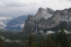 Three Brothers and Bridalveil Falls royalty free stock photo