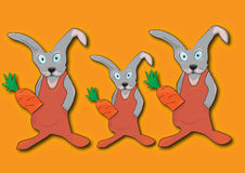 Three rabbit brothers. Three brothers on a farm rabbit with carrot Royalty Free Illustration