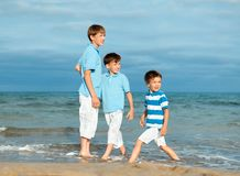 Three brothers are  play on beach Royalty Free Stock Images