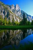 Three Brothers reflection in Merced, Yosemite Valley. Yosemite National Park, California stock images