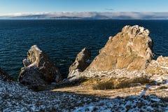 Three brothers Rock at Cape Sagan-Khushun Royalty Free Stock Images