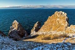 Three brothers Rock at Cape Sagan-Khushun Stock Image