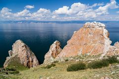 Three brothers rocks, Lake Baikal in Russia. Rocks, Olkhon island, Lake Baikal, Russia Royalty Free Stock Images