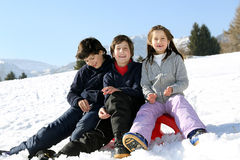 Three brothers on the sled in the snow in winter Stock Images