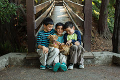 Three brothers and their pet Royalty Free Stock Image