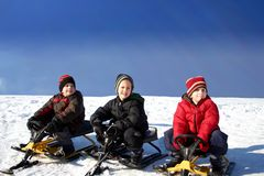 Three brothers tobogganing Royalty Free Stock Images