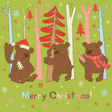 Three brown bears, trees and snowflakes Royalty Free Stock Photos