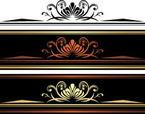 Three brown borders with ornamental golden elements Royalty Free Stock Image