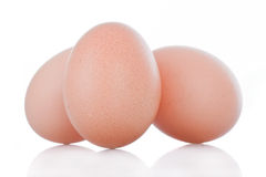 Three brown chicken eggs Royalty Free Stock Photo