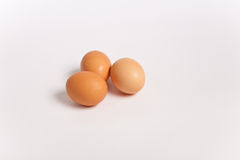 Three brown chicken eggs Royalty Free Stock Photography