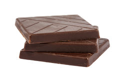 Three brown chocolate pieces Stock Photos