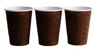 Three Brown coffee cups with a bean print Royalty Free Stock Photos