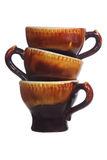 Three brown cups Royalty Free Stock Image