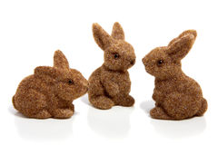 Three brown easter bunnies. Isolated over white royalty free stock photography