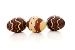 Three brown easter eggs Royalty Free Stock Images