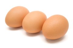 Three Brown Eggs Royalty Free Stock Images