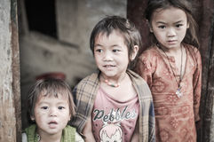 Three brown-eyed sisters in Nepal Stock Image