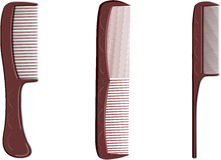 Three brown hairbrush Royalty Free Stock Image