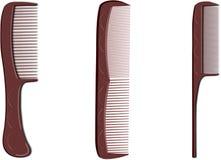 Three brown hairbrush Royalty Free Stock Image