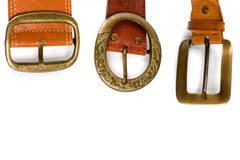 Three brown leather belts Stock Images