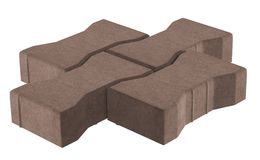 Three brown lock paving bricks. Isolated on white background. 3D realistic render of three brown lock paving bricks. Isolated on white background stock illustration
