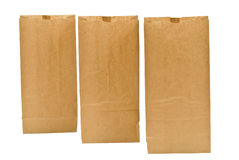Three Brown Lunch Bags Standing In A Row Royalty Free Stock Image