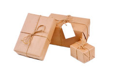 Three brown packages  Stock Image
