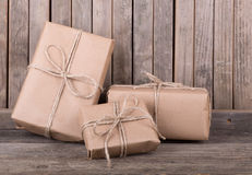 Three Brown Packages Stock Images