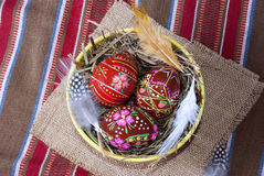 Red painted Easter eggs top view Stock Photo