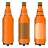 Three brown plastic bottles Royalty Free Stock Photos