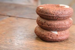Three brownie donuts Royalty Free Stock Image