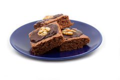 Three brownies isolated on white Stock Images