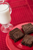 Three Brownies on a Plate with a Cup of Milk Stock Image