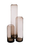 Three Brownish Cylindrical Crystal Vases Royalty Free Stock Photos