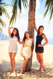 Three brunette slim girls barefoot stand on beach Stock Photo