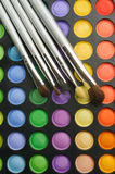 Three Brushes on the palette of eye shadows Stock Photo