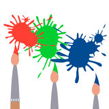 Three brushes. Red, green, blue blots. Vector illustration Stock Photos