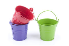 Three buckets of different colors Royalty Free Stock Photography