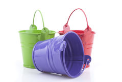 Three buckets of different colors Stock Image