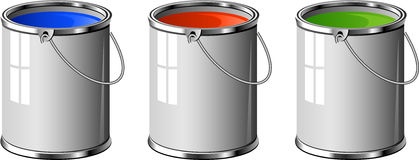 Three buckets of paint Royalty Free Stock Image