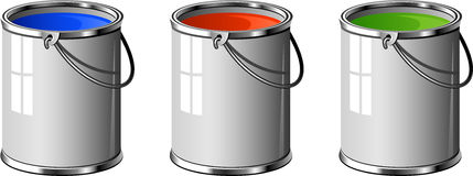 Three buckets of paint Royalty Free Stock Images