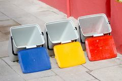 Three buckets for recycling of  waste Stock Photography