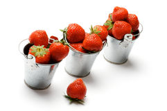 Three Buckets with Strawberry Royalty Free Stock Images