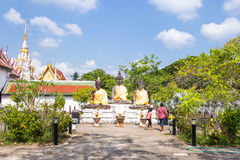 Three buddha statue at Wat Phra Borommathat Chaiya Worawihan, an ancient temple at Chaiya district,Surat Thani province Royalty Free Stock Photography