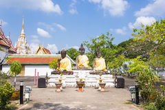 Three buddha statue at Wat Phra Borommathat Chaiya Worawihan, an ancient temple at Chaiya district,Surat Thani province Stock Image