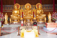 The three Buddhas in the Chinese temple of Thailand Royalty Free Stock Photos