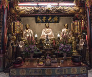 The three Buddhas in the Chinese temple of Thailand Stock Images