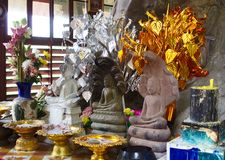 Three Buddhas and offerings Royalty Free Stock Image
