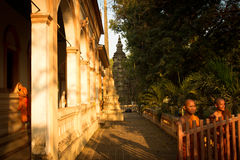 Three Buddhist monks of Wat Damnak, Siem Reap, Cambodia Stock Photo