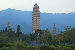 Three buddhist pagodas in Dali old city, Yunnan province, China Royalty Free Stock Image